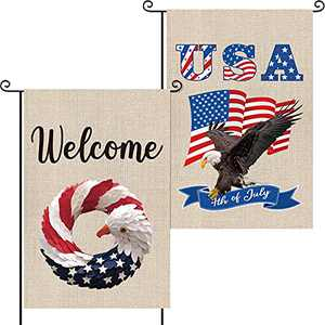 2 Pieces 4th of July Garden Flag Patriotic Memorial Independence Day Outdoor Decorations Welcome America Flag Eagles and Wreaths American Flag 18 x 12 Inches
