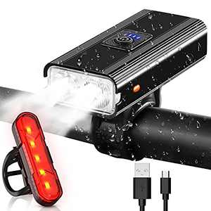 Bike Lights USB Rechargeable Super Bright Bike Front and Back Rear Led,IPX6 Waterproof 6 Modes Fits Cycling,Mountain Road Light Flashligh