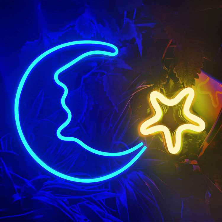 Koicaxy Moon Star Shaped LED Neon Light, Indoor Led Wall Light Decor, Battery/USB Powered Light Up Acrylic Neon Sign for Living Room, Kids Room, Bedroom, Christmas, Party, Bar, Wedding(Yellow Star)