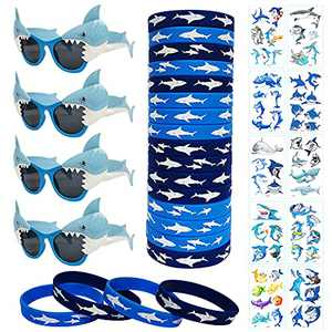 JAKADYUKS Shark Party Favors for Kids, 4pcs Shark Glasses, 20pcs Silicone Bracelet Rubber Wristbands, 10 Sheets Shark Tattoos Stickers, Shark Photo Booth Props Ocean Pool Party Supplies Return Gifts Bulk Toys for Teacher Prizes