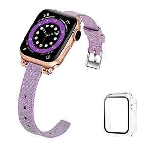 iDLEHANDS Compatible with Apple Watch Band 38mm 40mm 42mm 44mm, Slim Fabric Canvas Replacement Strap Compatible for iWatch Series 6/5/4/3/2/1/SE (42mm 44mm) - Light Purple
