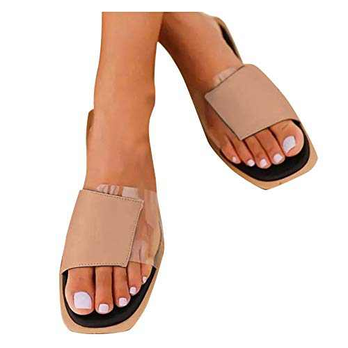 MAGAO Sandal for Women, Square Open Toe Transparent Color Stitching Flat Slipper (Beige, 7, numeric_7)