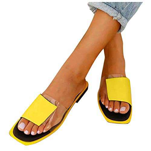 MAGAO Sandal for Women, Square Open Toe Transparent Color Stitching Flat Slipper (Yellow, 7.5, numeric_7_point_5)