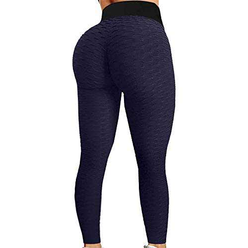 2021 Women's High Waist Yoga Pants Bubble Hip Butt Lifting Anti Cellulite Legging Workout Tummy Control Yoga Tights (Navy, XL)