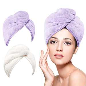 Microfiber Hair Towel Wrap for Women, DUDUCOFU 2 Pack 10 X 26 inch Quick Dry Hair Turban for Drying Wet Thick, Long, Curly Hair, Anti Frizz