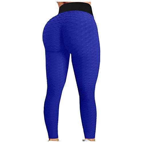 2021 Women's High Waist Yoga Pants Bubble Hip Butt Lifting Anti Cellulite Legging Workout Tummy Control Yoga Tights (Dark Blue, L)