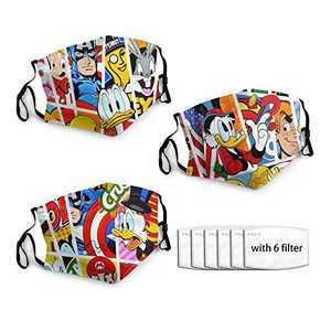 Durable Cloth Mask Mask 3pcs with 6 Filters Donald Duck Comics Characters Printed Looney Tune Su-per M-ario Reusable Face Cover with Adjustable Ear Straps & M-shaped Nose Clip
