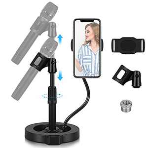 """Microphone Stand Desktop Mic Holder - GLCON Adjustable Table Mic Stand with Mic Clip, cell phone clip, 5/8"""" Male to 3/8"""" Female Screw for Blue Yeti Snowball Spark Microphones (Upgraded Stability)"""