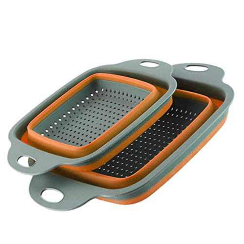 Kitchen Strainer Foldable Silicone Colander Fruit Vegetable Washing Basket Strainer Kitchen Tool (Orange)