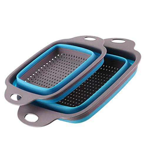 Kitchen Strainer Foldable Silicone Colander Fruit Vegetable Washing Basket Strainer Kitchen Tool (Blue)