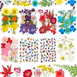 195 Pcs Dried Pressed Flowers Leaves and Butterfly Stickers Set, Natural Dry Flowers for Scrapbooking Art Supplies DIY Crafts Resin Nail Making Decors