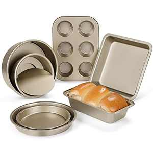 """Grelae 7pc Nonstick Oven Bakeware Baking Set, Carbon Steel Baking Tray Set-Include 1 x Square Cake Pan, 2 x Round Cake Pan(6""""/8""""), 2 x Pizza Pan(6""""/8""""), 1 x 6 Cup Muffin Tray, 1 x Loaf Pan in Gift Box"""