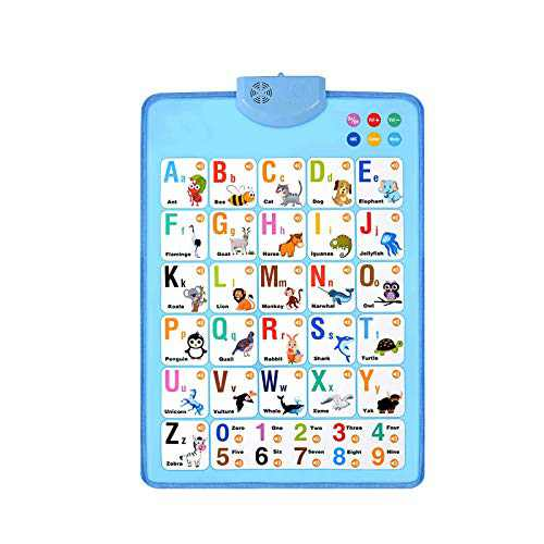 Electronic Interactive Alphabet Wall Chart, Talking ABC & 123s & Music Poster, Best Educational Toy for Toddler. Kids Fun Learning at Daycare, Preschool, Kindergarten (Blue)