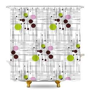 KOMLLEX Abstract Geometric Circles Shower Curtain for Bathroom 60Wx72H Inch Mid Century Striped Small Round Dots White Green Black Fabric Waterproof Polyester with 12 Pack Plastic Hooks