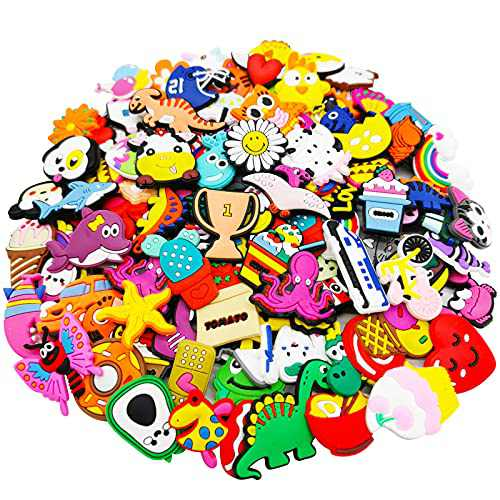 100 Pcs Shoe Charms Fit for Shoes and Wristband Bracelet Decoration, Different Shape Charms Party Gift for Kids and Teens