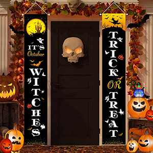 Halloween Porch Decorations Trick or Treat & It's October Witches 72 x12 Inch Hanging Sign Banner Indoor Outdoor Halloween Décor Clearance Welcome Party Supplies for Front Yard Wall Home Signs