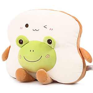 """LuluLaLa 17.7"""" Soft Bread Plushie Pillow,Kawaii Toast Pillow,Funny Food Plush Stuffed Toy for Home Decor,Birthday, Valentine"""