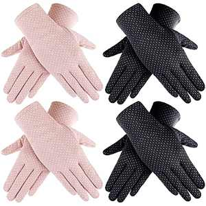 Women Sun Protective Glove Summer Touchscreen Glove UV Protection Gloves (Black, Pink,4 Pairs)