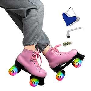 ZZAINIO Women's Classic Roller Skates for Women Men Premium PU Leather High-top Roller Skates, 4-Wheel Shiny Outdoor Roller Skates for Girls Unisex