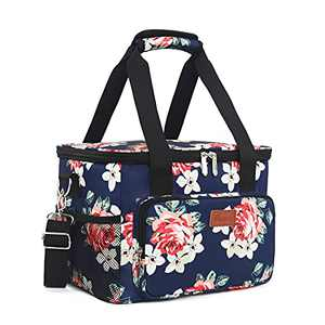 Lunch Bags for Women/Men, Insulated Lunch Bag for Work Office School Picnic - Large Lunch Cooler Bag Leakproof Lunch Box with Adjustable Shoulder Strap for Adults - Floral(15L)