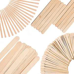 Mibly 4 Style Assorted Wooden Wax Sticks - For Body Legs Face and Small Medium Large Sizes Eyebrow Waxing Applicator Spatulas for Hair Removal or Wood Craft Sticks (Pack Of 250 Assorted Waxing Sticks)