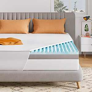 Sweetnight Mattress Topper Queen, 3 Inch Dual Layer Infused Gel & Bamboo Charcoal Foam Topper for Decompression & Ventilated, Attaches a Waterproof Mattress Protector Shipped in a Box, Medium Soft