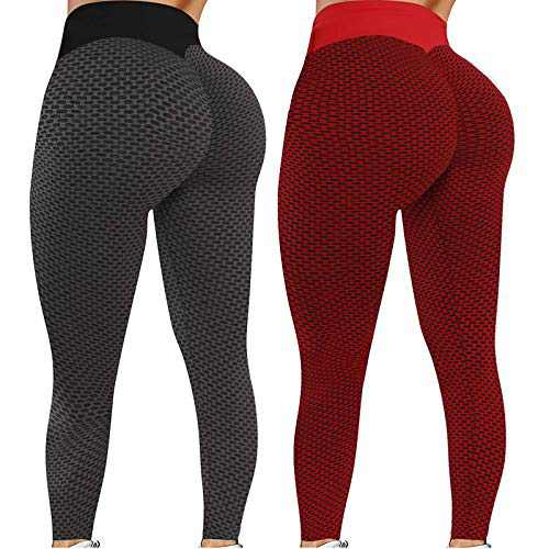 NMSL 2 Pack TIK Tok Leggings, High Waisted Leggings for Women, Women Yoga Pant for Butt Lifting, Bubble Hip Lift Workout Pants