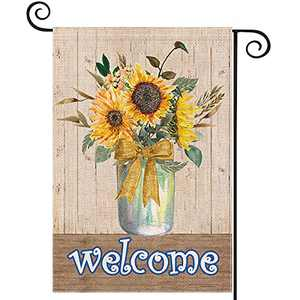 EKOREST Sunflower Welcome Summer Garden Flags for Outside,Watercolor Sunflower Mason Jar,12 x 18 Double Sided,Small Seasonal Farmhouse Flag for All Seasons,Decorative Yard Flag for Outdoor Porch Decor