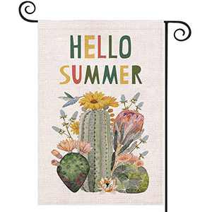 EKOREST Hello Summer Watercolor Cactus Garden Flags for Outside,12 x 18 Vertical Double Sided,Welcome Summer Decorative Farmhouse Flag,Small Seasonal Yard Decor for Spring Holiday Outdoor Lawn Patio