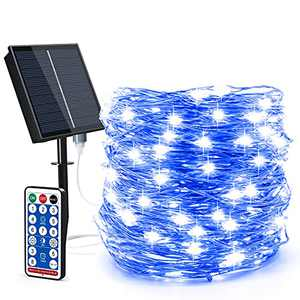 Solar String Lights Outdoor-Solar Fairy Lights 100ft 300LED 8 Modes Waterproof IP65 Twinkle Lighting Indoor Outdoor Fairy Firefly Lights with Remote, for Patio Garden Yard Party (Blue)