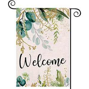LARMOY Floral Welcome Summer Garden Flags for Outside,12×18 Inch Double Sided,Spring Summer Watercolor Flowers,Small Yard Flags for All Seasons,Seasonal Decorative Decor for Farmhouse Patio Outdoor