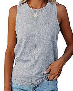 Dressation Women's Summer Sleeveless Tank Tops Casual Crew Neck Solid Color Loose Fit T Shirt Tops Grey