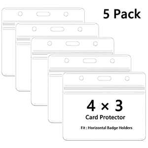 Horizontal Badge Holders Sealable Waterproof, 4x3 Card Protector ,Clear Plastic Name Tag ID Card Holder(5 Pack)
