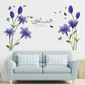 Supzone Lily Flowers Wall Sticker Purple Floral Wall Decal Colorful Butterfly Wall Decor I Love You Quotes and Sayings Wall Art DIY Vinyl Wall Mural for Living Room TV Background Bedroom Nursery