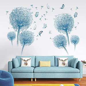 Supzone Blue Dandelion Wall Stickers Flower Wall Decals Butterflies Flying Wall Decors Removable Vinyl DIY Wall Art Mural Stickers for Bedroom Living Room Sofa Backdrop TV Wall Decoration