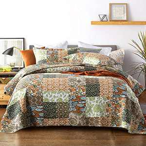 Finlonte Quilt Bedspread Sets - Cotton Floral Pattern Patchwork Coverlet Set for All Season,3 Piece Reversible Quilted Decor ,Queen Size