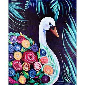 SNMUW DIY Paint by Numbers for Adults Beginner, Swan Acrylic Paint by Number Beginner, Easy Painting by Numbers for Adults Kids, Watercolor Paint by Number Decoration Gift 16 x 20 Inch