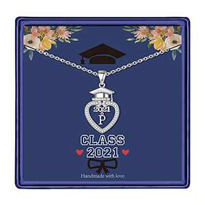 Graduation Gifts Class of 2021 Initial Necklace, 14K White Gold Plated Initial Necklace with CZ Heart Pendant Necklace College Graduation Friendship Gifts for Her Class of 2021 High School Gifts(P)