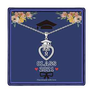 Graduation Gifts Class of 2021 Initial Necklace, 14K White Gold Plated Initial Necklace with CZ Heart Pendant Necklace College Graduation Friendship Gifts for Her Class of 2021 High School Gifts(M)