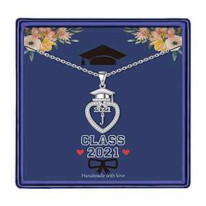 Graduation Gifts Class of 2021 Initial Necklace, 14K White Gold Plated Initial Necklace with CZ Heart Pendant Necklace College Graduation Friendship Gifts for Her Class of 2021 High School Gifts(J)