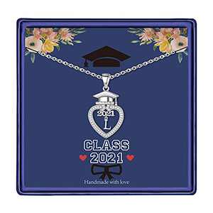 Graduation Gifts Class of 2021 Initial Necklace, 14K White Gold Plated Initial Necklace with CZ Heart Pendant Necklace College Graduation Friendship Gifts for Her Class of 2021 High School Gifts(L)