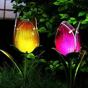 Solar Lights Outdoor Decorative Ground - Garden Solar Tulip Light Stake - Waterproof LED Landscape Path Lights - 2-Color Flower Pack for Patio Lawn Yard Pathway Art Decoration, Nice Gift Idea