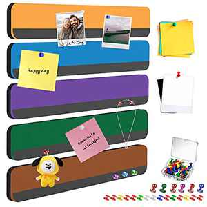 CHNFUWEI 5 Pack Cute Self-Adhesive Magnetic Felt Push Pin Bulletin Boards Strips Tiles Damage-Free to Wall as Memo Notice Boards for Home Office Classroom Wall Decor Display(Multicolor-2)