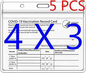 5 Pack - CDC Card Protector - 4 x 3 inches Badge Holder Record Card Cover Holder with Waterproof Type Resealable Zip Vinyl Plastic Sleeve Pouch w 3 Lanyard Slots for Travel