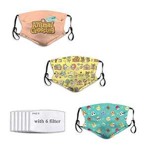 3PC Face Mask with 6 Filters Breathable Resuable Mouth Cover Washable Bandana Neck Gaiters Dustproof for Outdoor Ani-mal Cross-ing