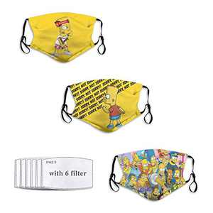 3PC Face Mask with 6 Filters Breathable Resuable Mouth Cover Washable Bandana Neck Gaiters Dustproof for Outdoor S-impsons