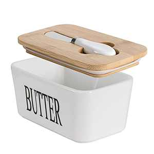 Hasense Butter Dish with Bamboo Lid and Knife,650ml Large Butter Keeper Container for Counter, Airtight Butter Holder with Cover for Kitchen, White