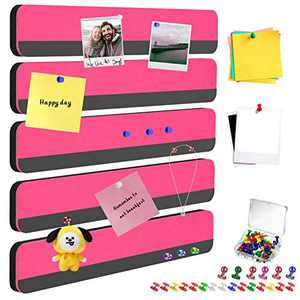 CHNFUWEI 5 Pieces of Magnetic Felt Board / pin Board, Bulletin Boards, Message Wall, Memo Board Strips for Wall Home Classroom Office Decoration, Better Than Cork Board Strips(Peach)
