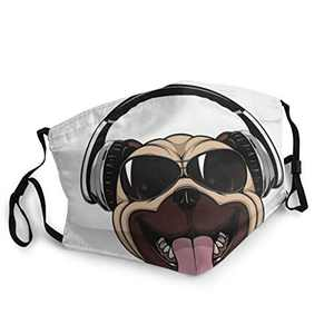 Funny Dog Unisex Face Balaclava Bandana Face Cover Windproof Reusable cloth Adjustable Mask Elastic Strap with 2 Filters Made In USA