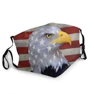 Bald Eagle Unisex Face Balaclava Bandana Face Cover Windproof Reusable cloth Adjustable Mask Elastic Strap with 2 Filters Made In USA